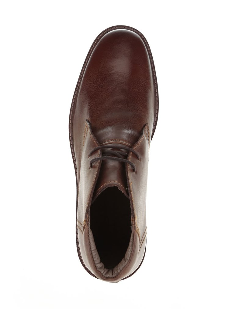Hnedé kožené pánske členkové topánky Frank Wright Elwood
