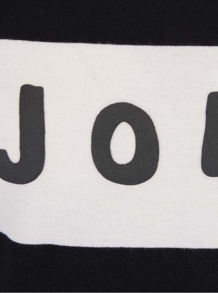 Černé tričko s plastickým nápisem a dlouhým rukávem Maison Scotch