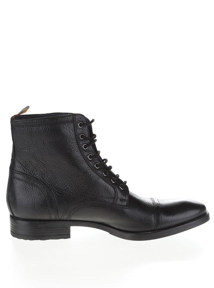 Černé kožené kotníkové boty Frank Wright Marris