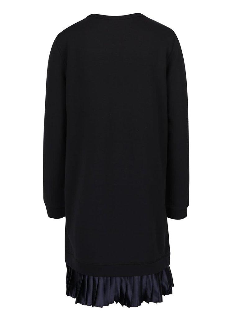 Černé mikinové šaty s tmavě modrou plisovanou sukní Maison Scotch