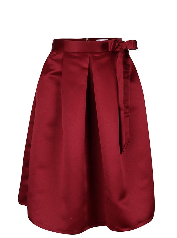 Vínová sukně s mašlí a kapsami Closet