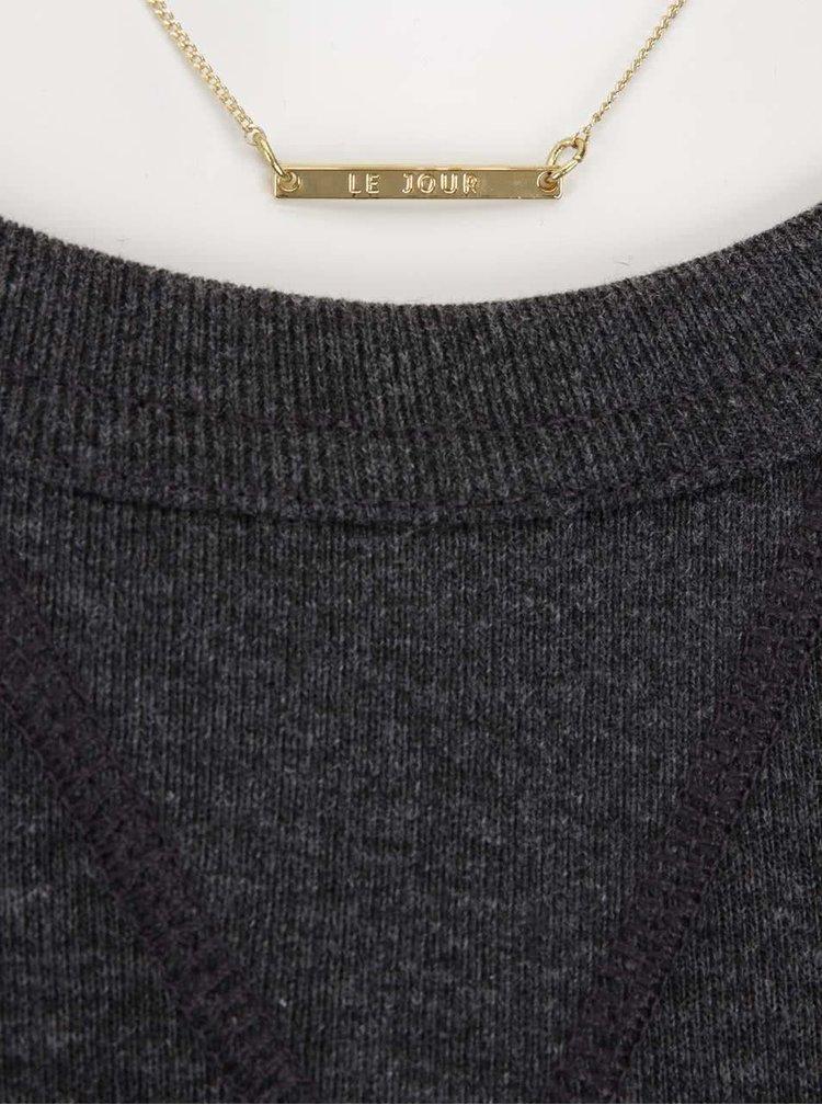 Tmavosivé mikinové šaty s horčicovou plisovanou sukňou Maison Scotch