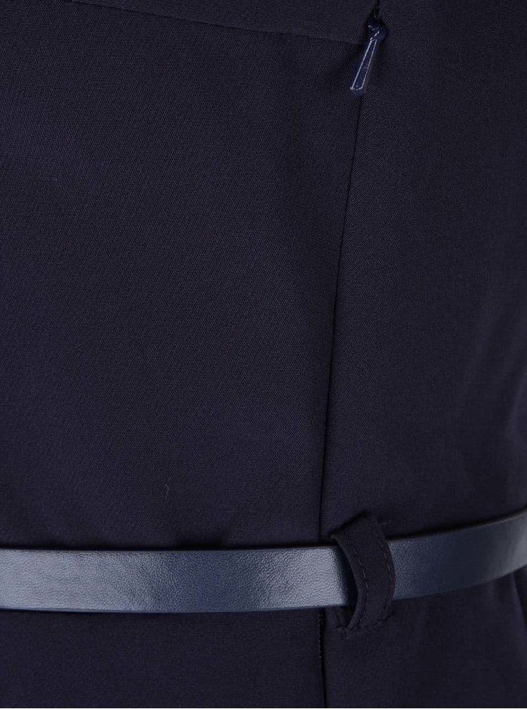 Tmavomodré šaty s mašľou a dlhým rukávom Closet