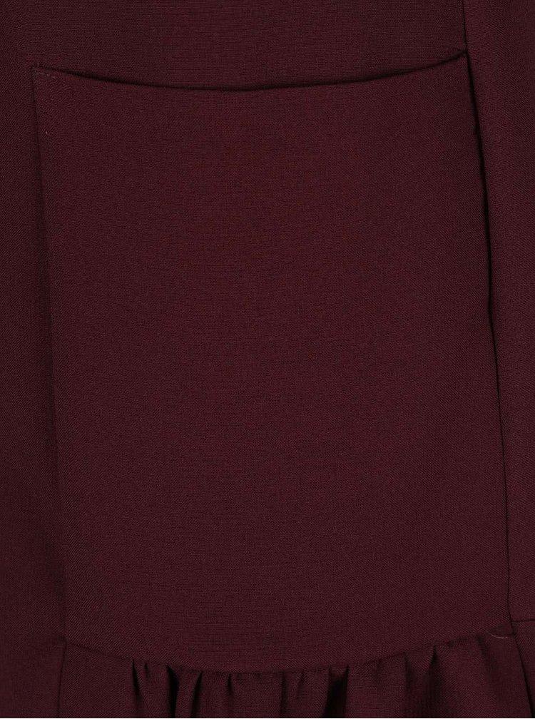 Vínové šaty so stojačikom a vreckami Closet