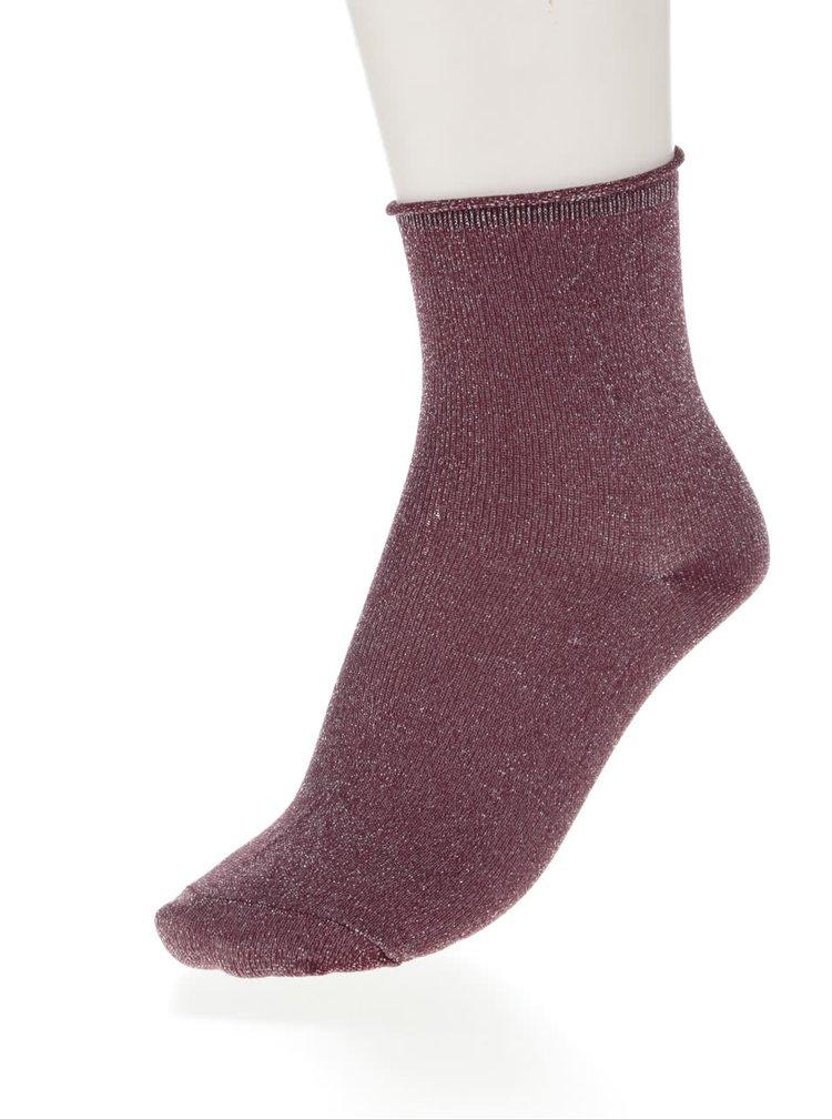 Sada tří párů ponožek ve vínové a černé barvě s metalickým vláknem ONLY Simla
