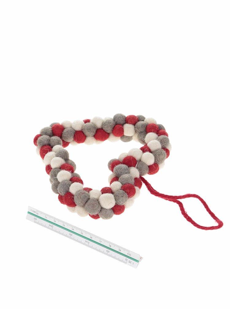 Ornament crem & roșu & gri Sass & Belle din lână
