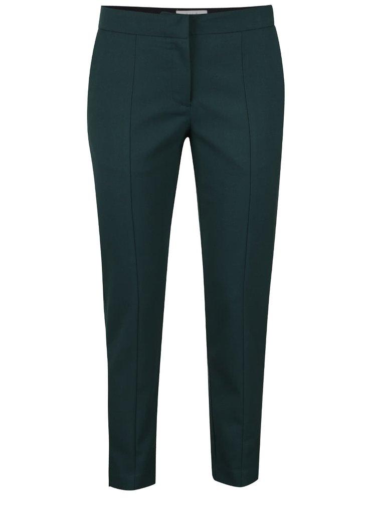Tmavě zelené zkrácené kalhoty VILA