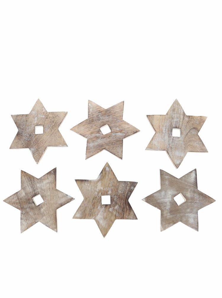Set de 6 suporturi de pahar Sass & Belle din lemn in forma de stea