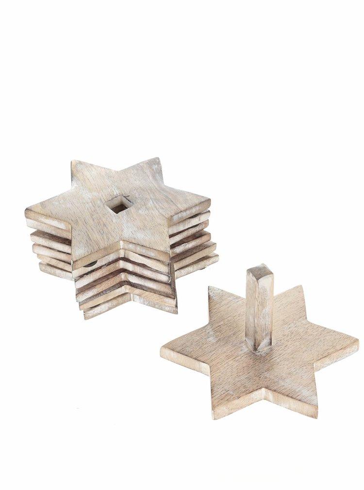 Sada šesti hnědých dřevěných podtácků ve tvaru hvězdy Sass & Belle