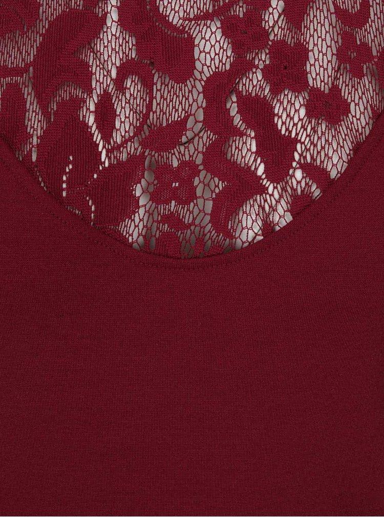Vínové šaty s krajkovými detaily ONLY Elenta