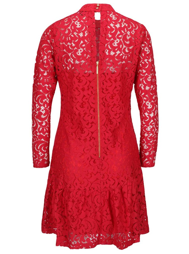 Červené krajkové šaty s dlouhým rukávem Closet