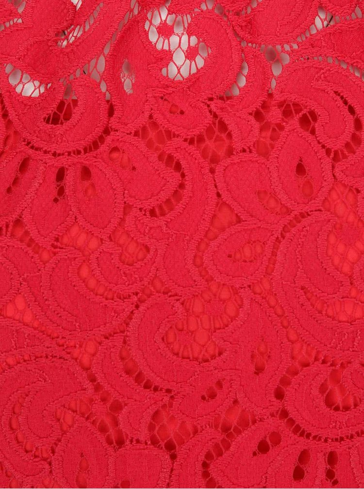 Červené čipkované šaty s dlhým rukávom Closet