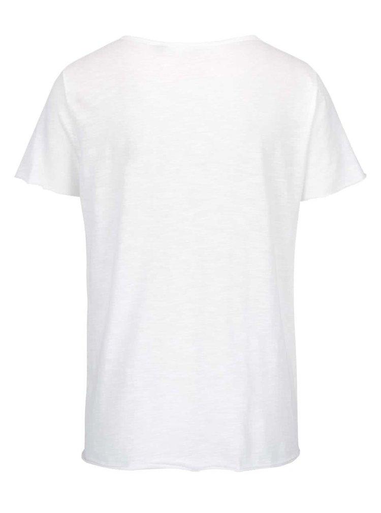 Krémové tričko s motivem pusy a flitry ONLY Augusta