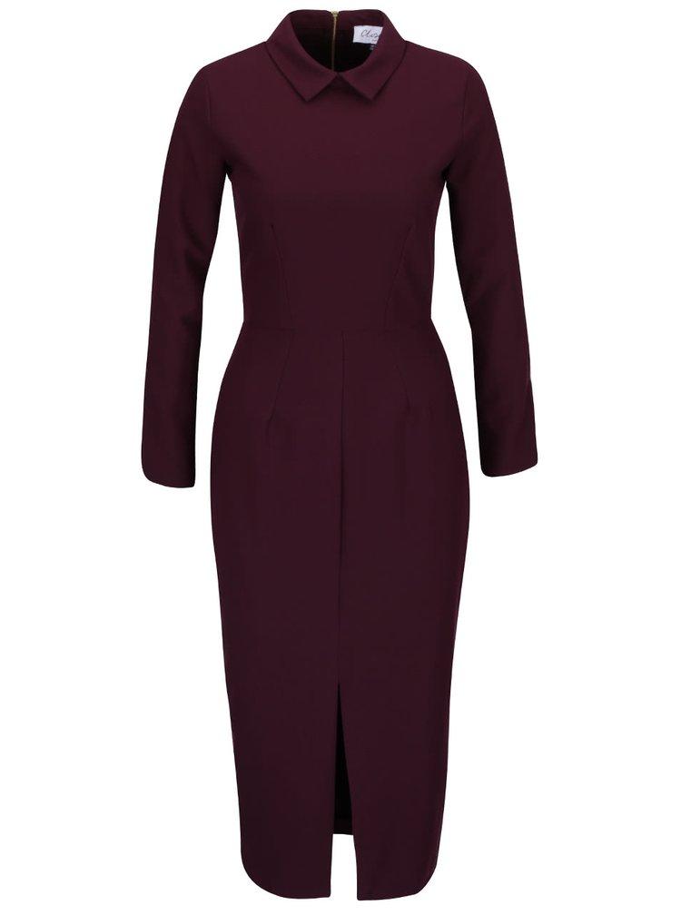 Fialové šaty s límečkem a dlouhým rukávem Closet