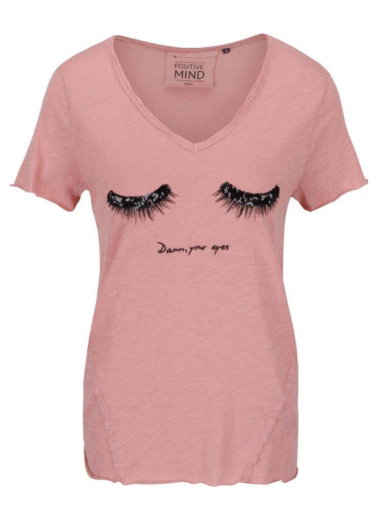 Světle růžové tričko s motivem očí a flitry ONLY Augusta