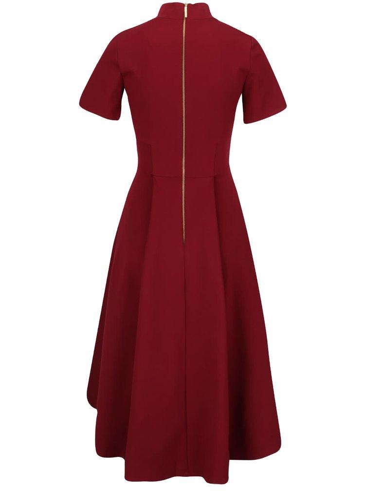 Vínové šaty se stojáčkem a  krátkým rukávem Closet
