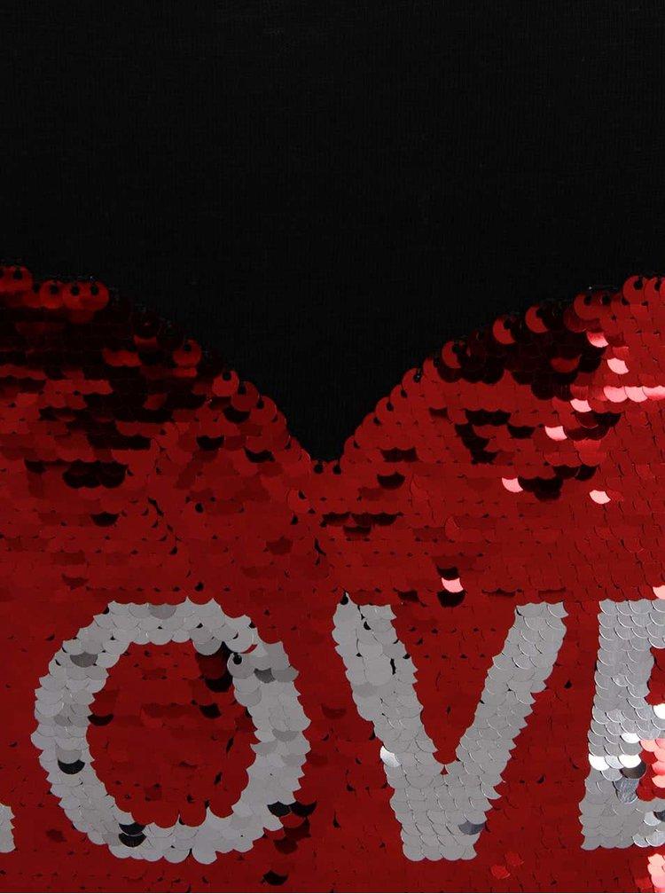 Černé tričko s flitrovaným motivem srdce ONLY Aura
