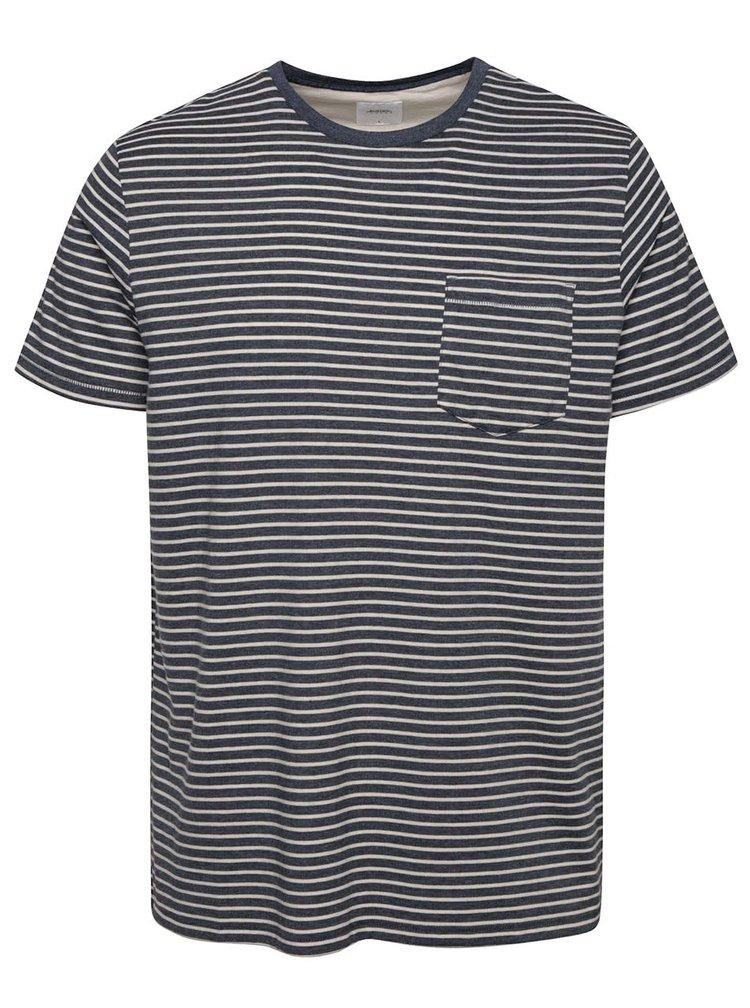Tricou albastru închis Burton Menswear London cu model în dungi