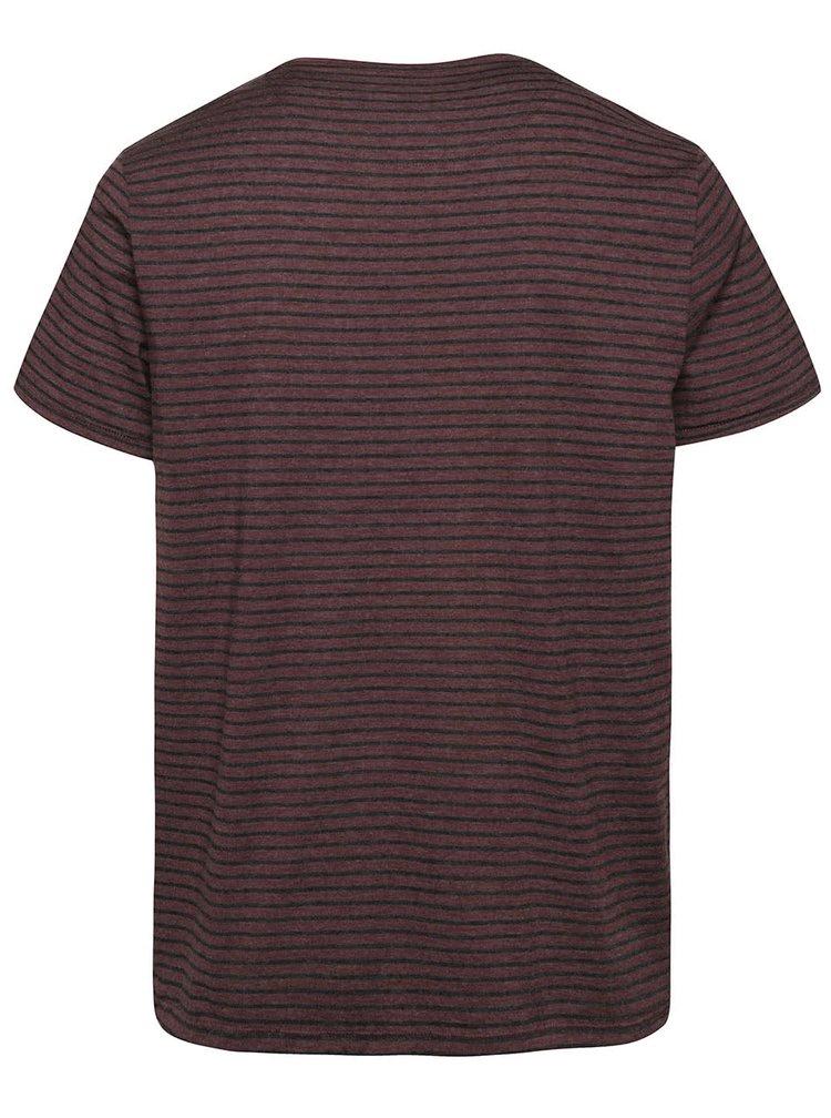 Tricou vișiniu Burton Menswear London cu model în dungi
