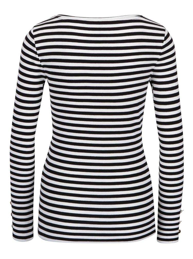 Bluză negru cu crem ONLY Olivia în dungi