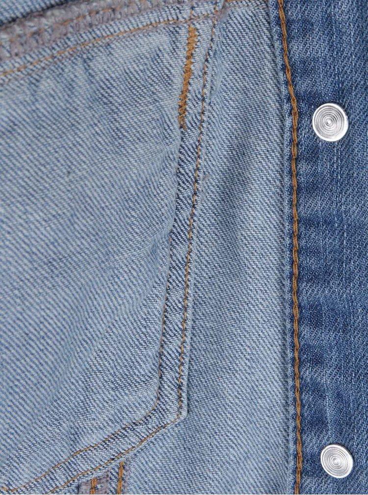 Modrá džínová bunda s květinovou výšivkou Miss Selfridge