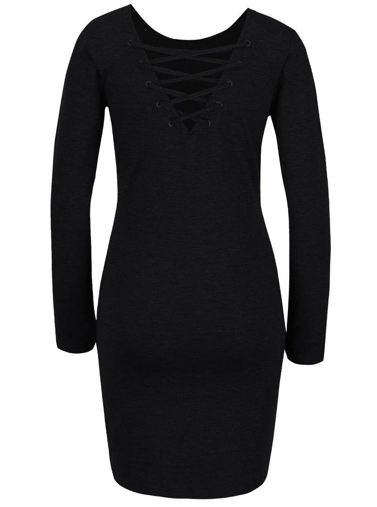 Černé šaty s dlouhým rukávem a šněrováním na zádech ONLY Carine