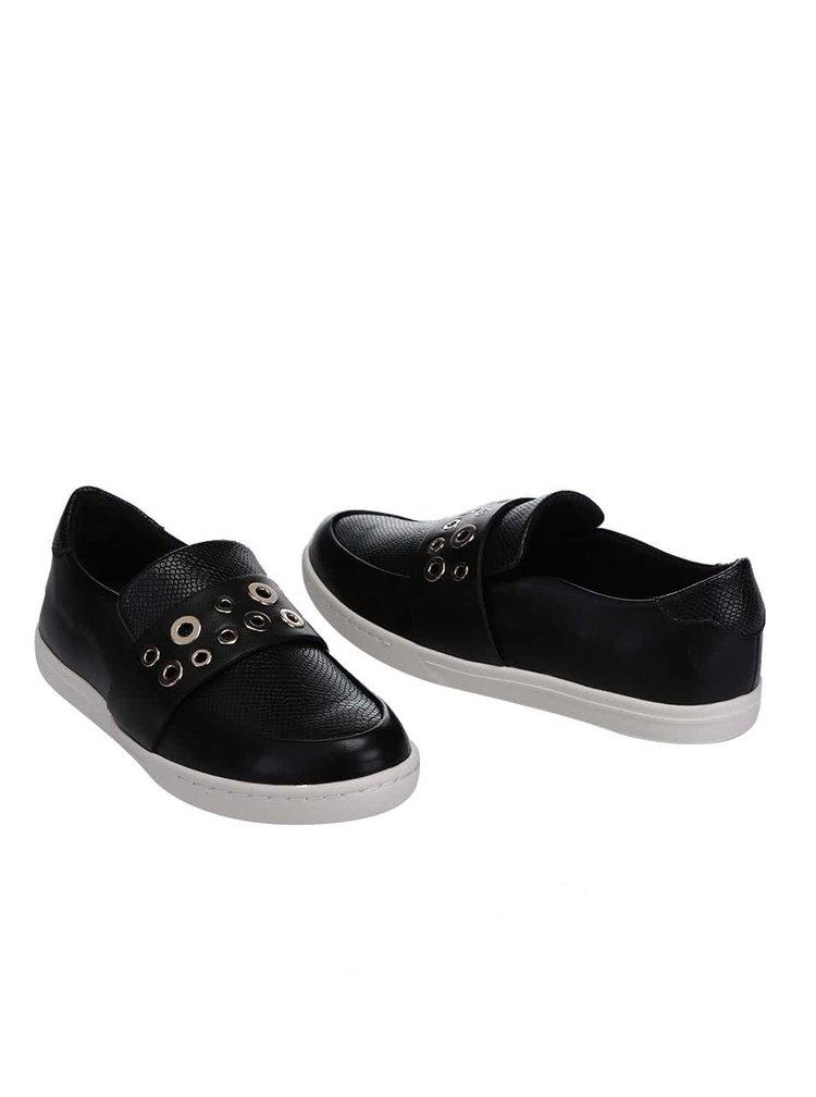 Čierne topánky s kovovými detailmi ALDO Satch