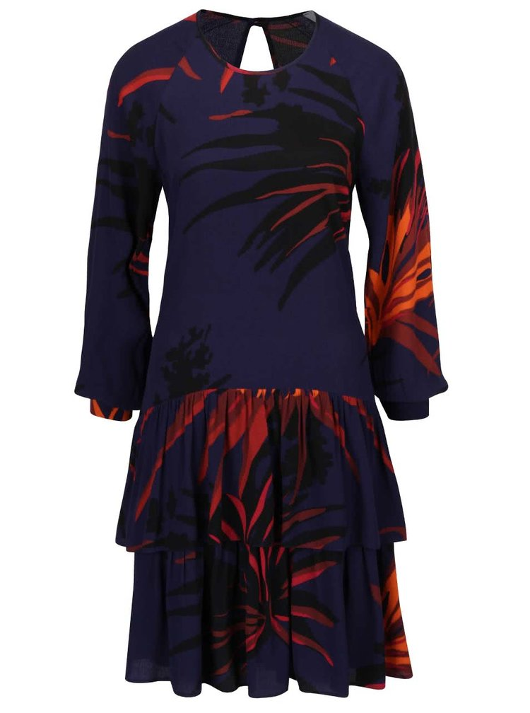 Oranžovo-modré vzorované šaty s dlouhým rukávem Closet