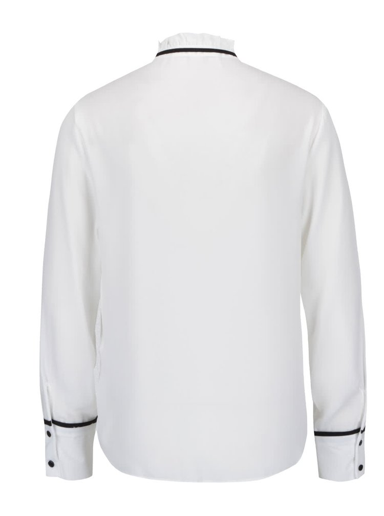 Bluza alb fildes Miss Selfridge cu panglici si guler la baza gatului