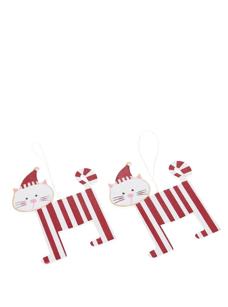 Súprava dvoch červeno-bielych drevených ozdôb v tvare mačky Sass & Belle