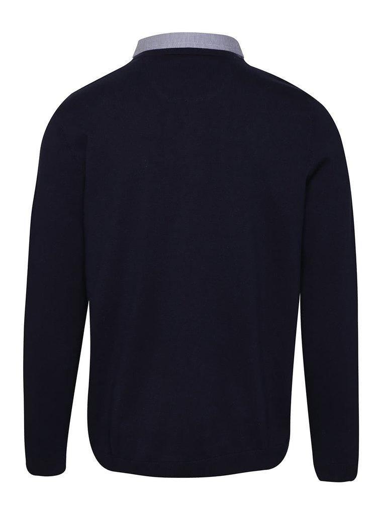 Pulover albastru închis Burton Menswear London cu aspect 2 în 1
