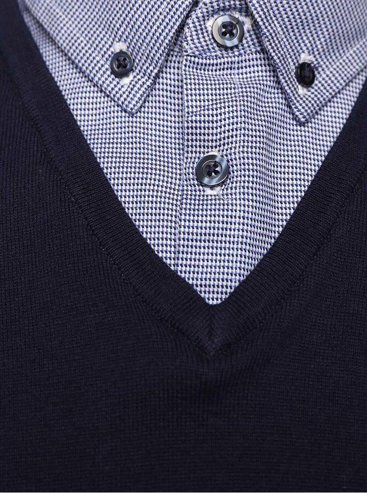 Tmavomodrý sveter s košeľovým golierom Burton Menswear London