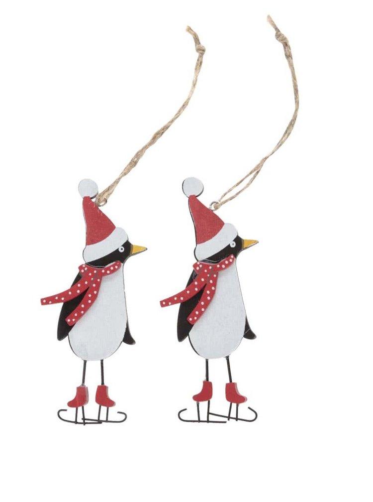 Sada dvou dřevěných ozdob ve tvaru tučňáka Sass & Belle