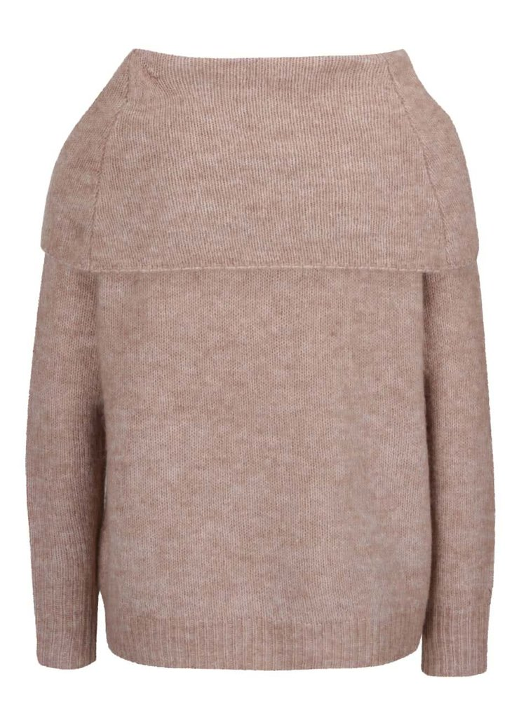 Svetlohnedý oversize sveter s vysokým golierom ONLY Bergen