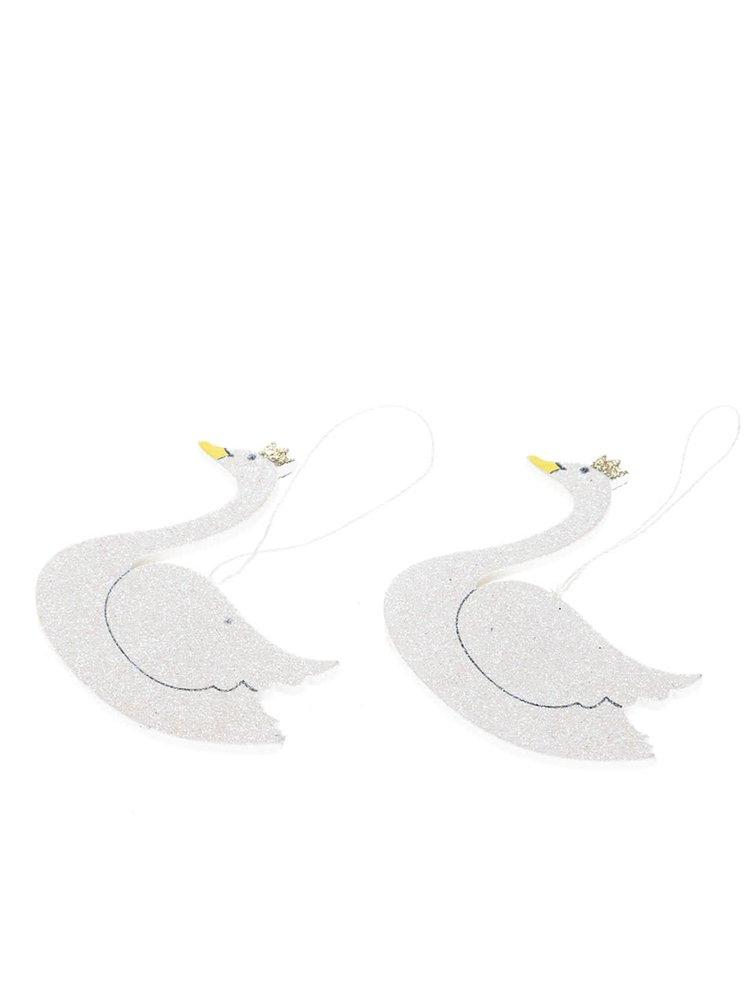 Set de 2 ornamente albe Sass & Belle din lemn