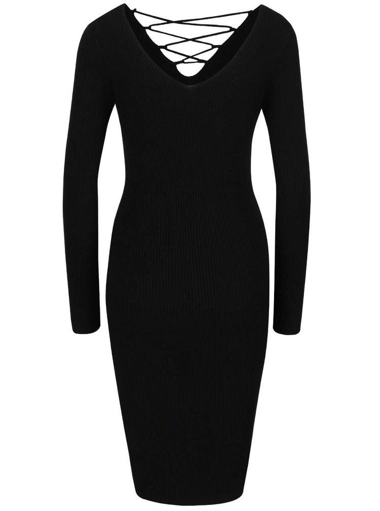 Černé svetrové šaty se šněrováním Miss Selfridge