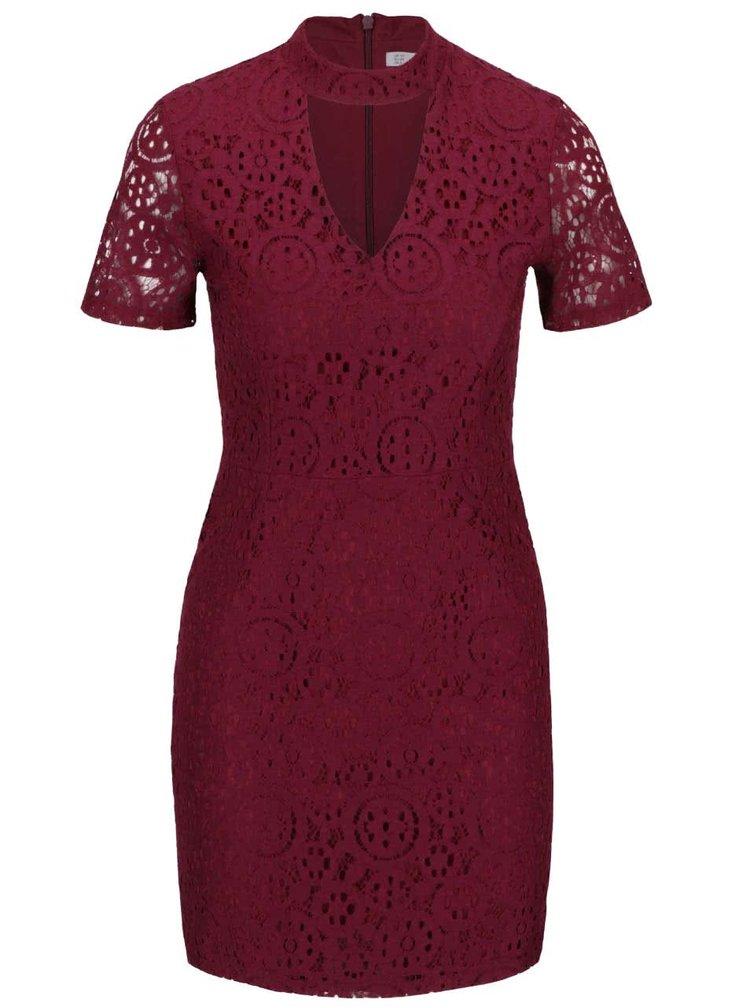 Vínové krajkové šaty Miss Selfridge
