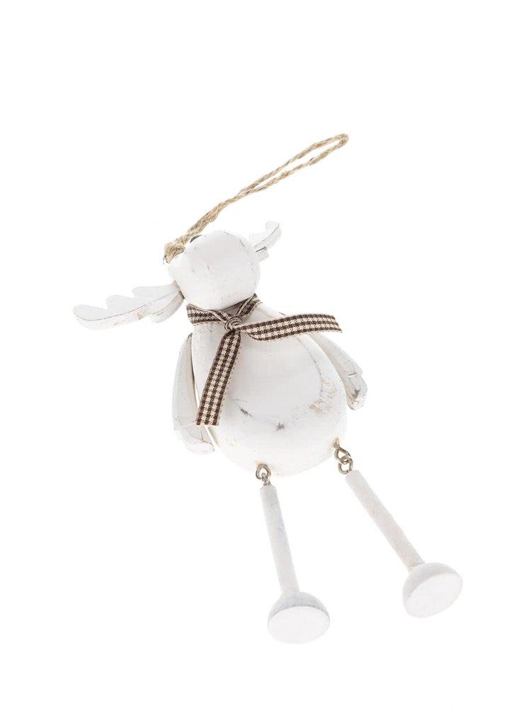 Bílá dřevěná závěsná dekorace ve tvaru soba Sass & Belle