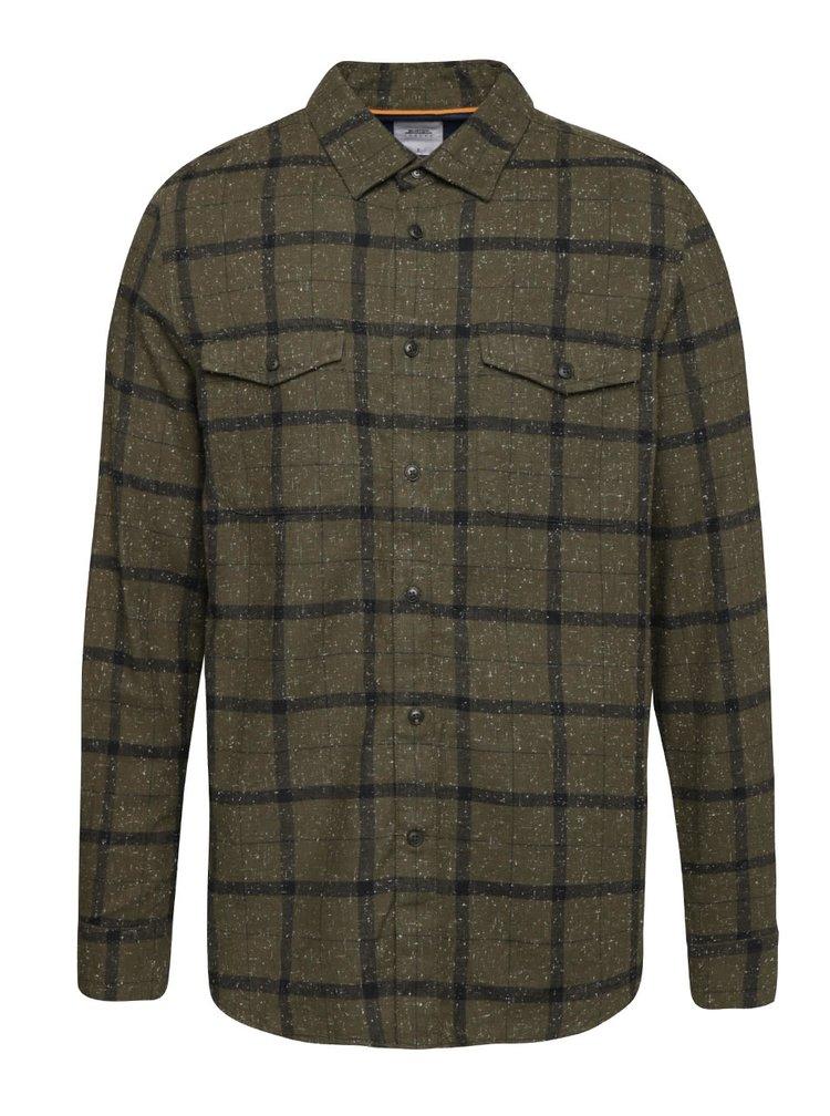 Kaki melírovaná kockovaná košeľa Burton Menswear London