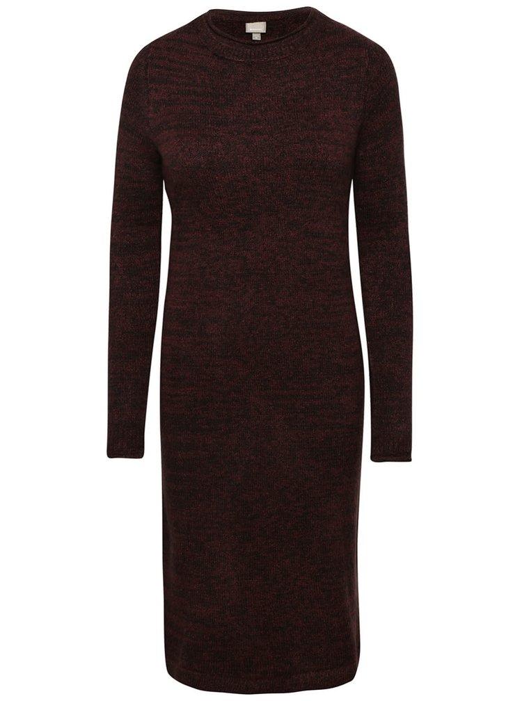 Čierno-vínové melírované svetrové šaty Bench Chronicler