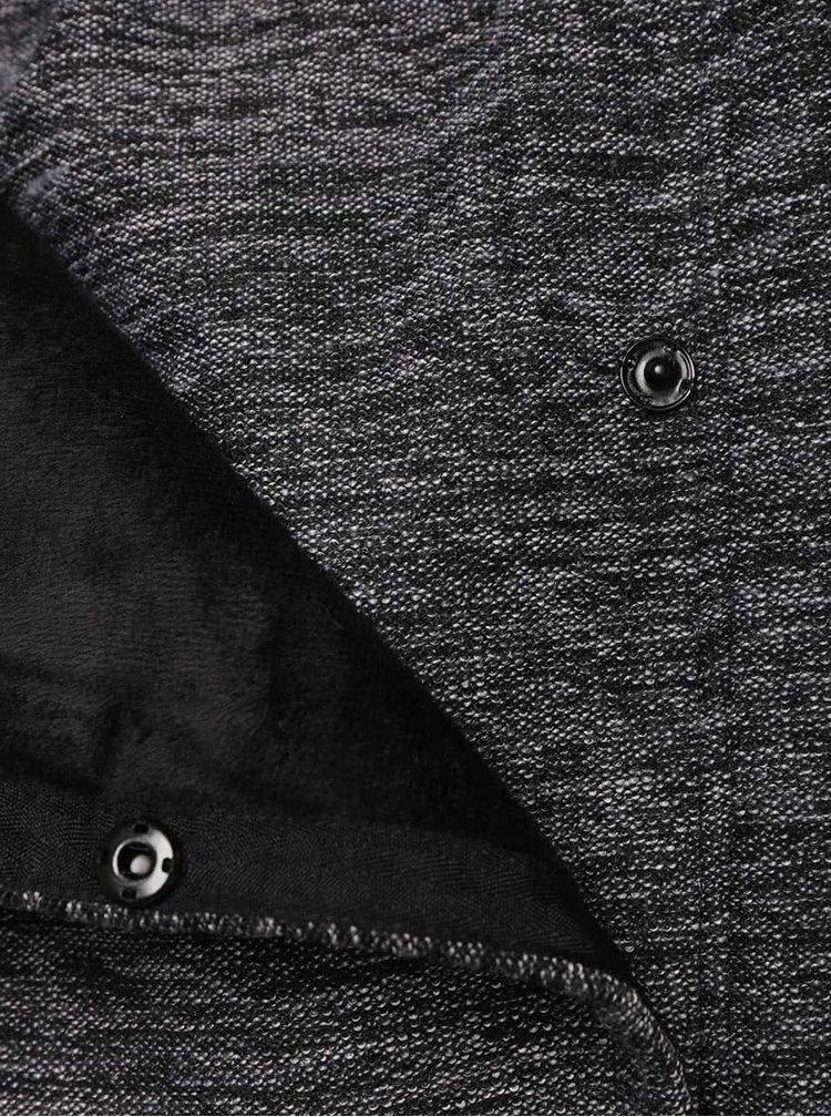 Čierno-sivý dámsky melírovaný asymetrický kabát Bench Structural