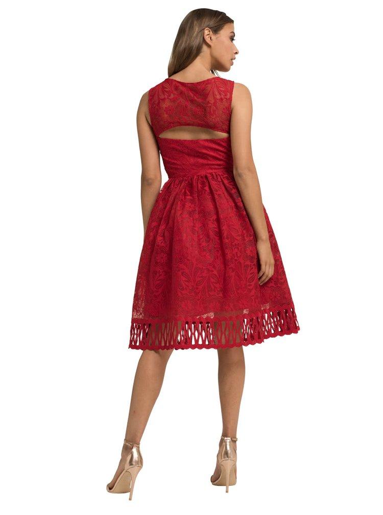 Červené krajkové šaty s průsvitným dekoltem Chi Chi London