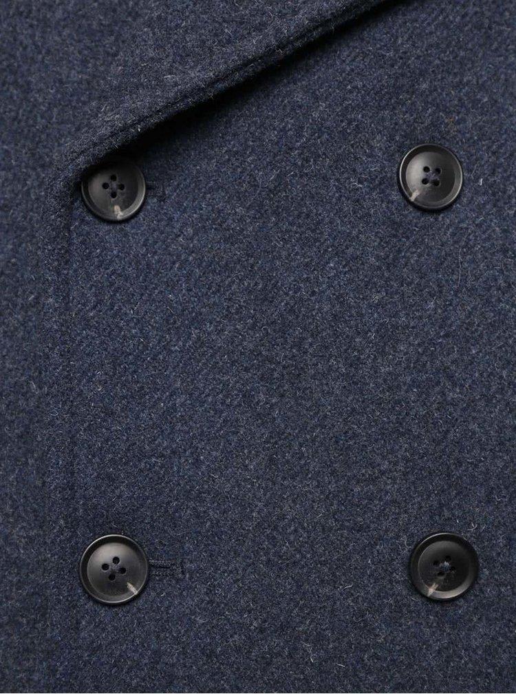 Tmavě modrý vlněný kabát Burton Menswear London