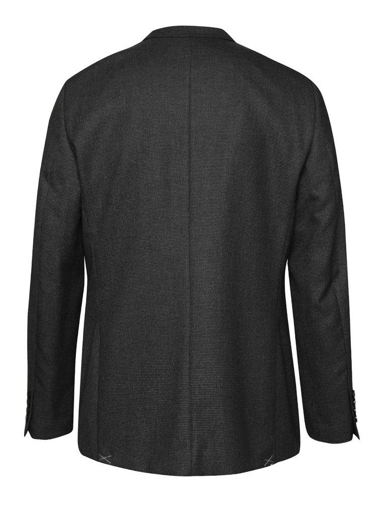 Tmavě šedé vzorované oblekové sako Burton Menswear London
