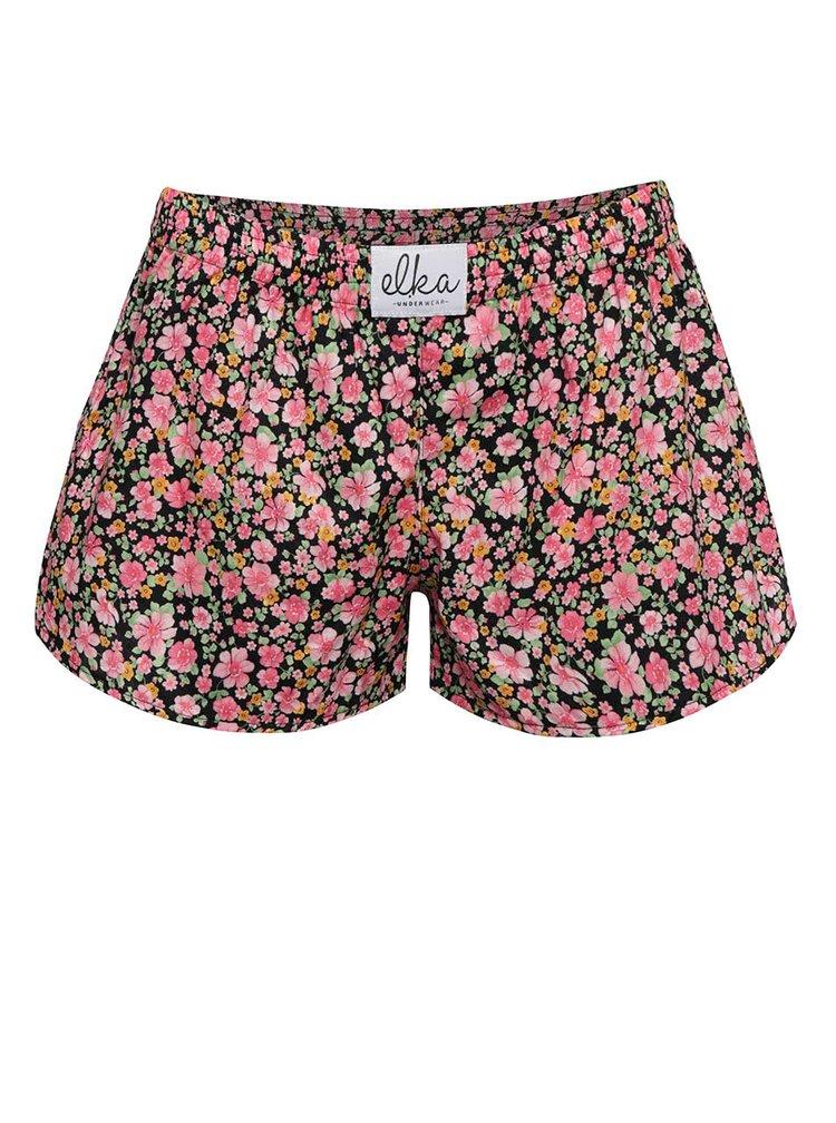 Černo-růžové dámské trenýrky se vzorem květin El.Ka Underwear