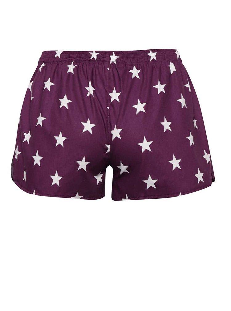 Fialové dámske trenírky s motívom hviezd El.Ka Underwear