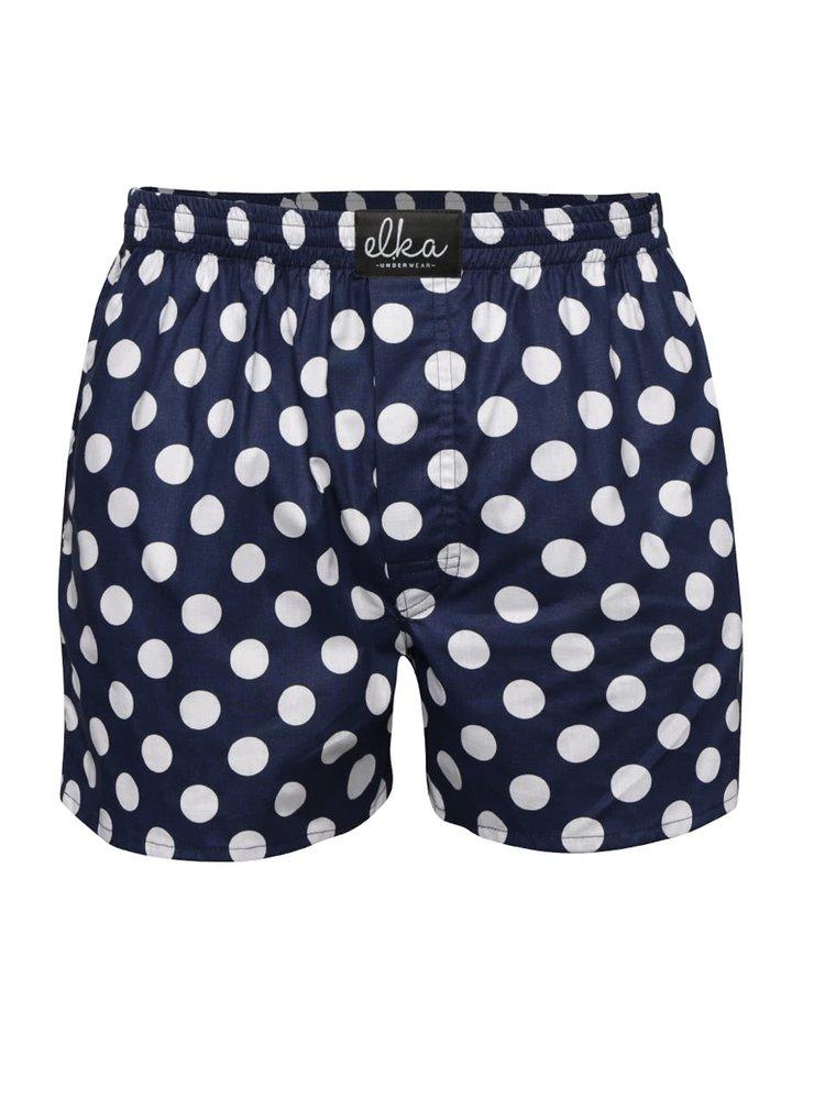 Tmavě modré pánské trenýrky s bílými puntíky El.Ka Underwear