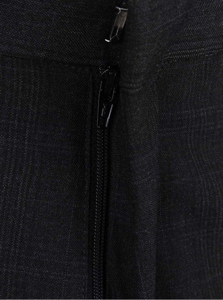 Tmavosivé slim nohavice s jemným kockovaným vzorom Burton Menswear London