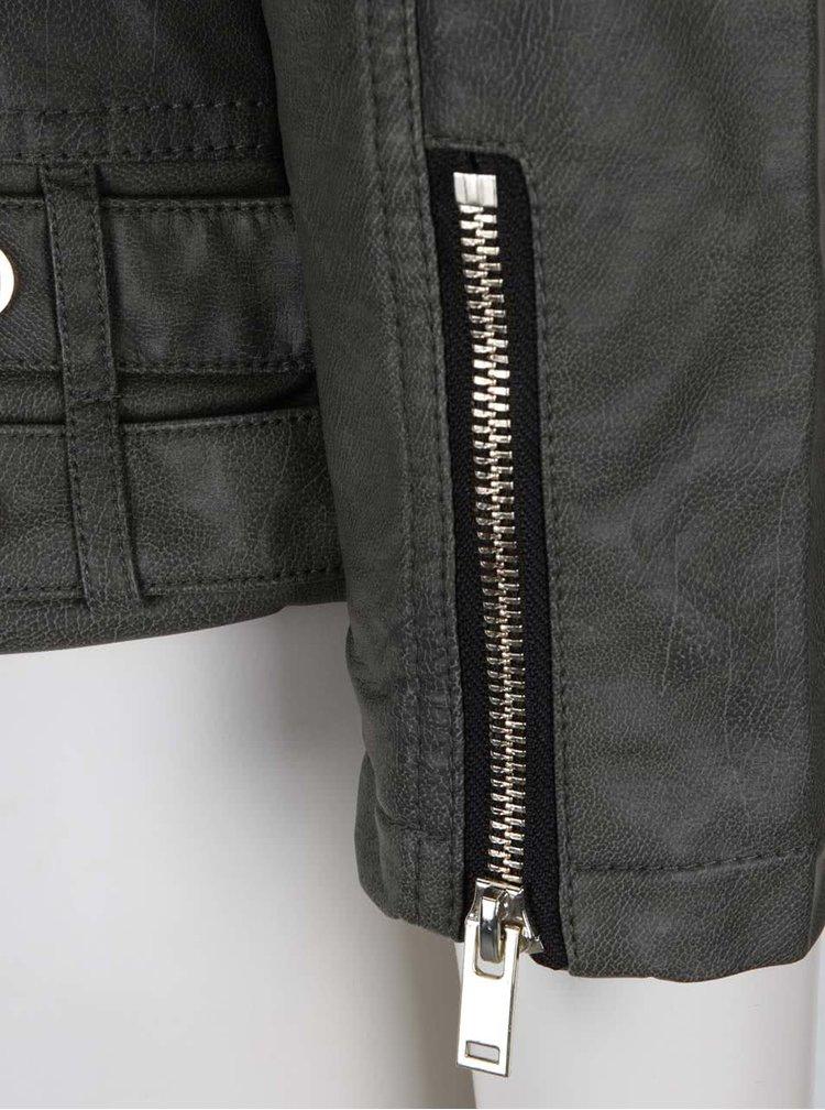 Jachetă kaki Miss Selfridge cu aspect piele sintetică