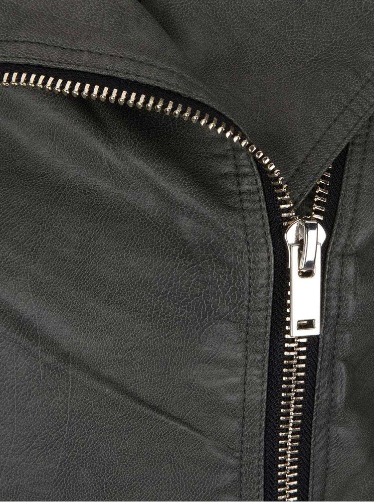 Khaki koženkový křivák Miss Selfridge
